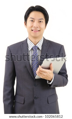 Asian business man with tablet computer isolated on white background