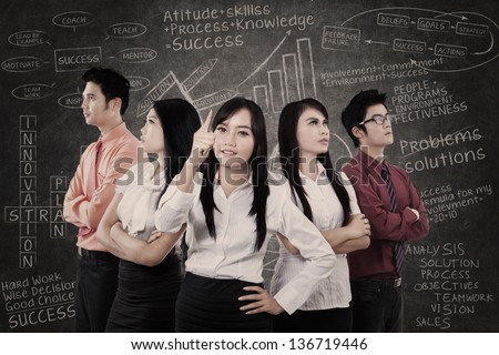 Asian business team in front of blackboard with success formula