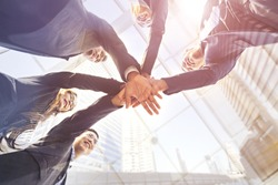 Asian business teamwork help together, team success on business integrity corporate partnership. Build work meeting friendship, trusting partnership relationship unity & strong community connection.