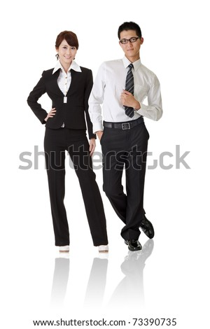 Asian business woman and man with confident expression standing, full length portrait isolated on white background.