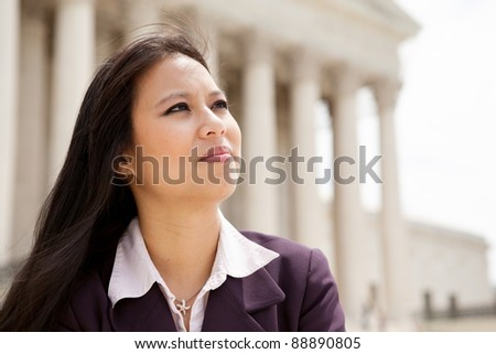 Asian business woman at the Supreme Court building in Washington DC