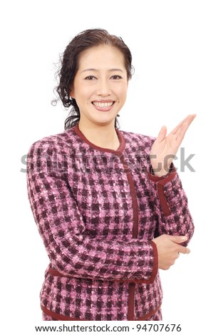Asian business woman hand showing blank sign