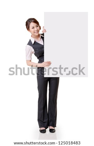 Asian business woman hold empty blank board, full length portrait isolated on white background.