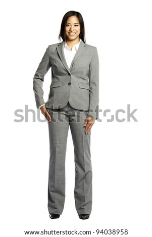 Asian business woman smiling confidently against white background