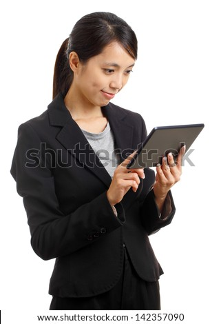 Asian business woman using tablet pc