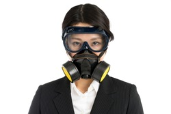Asian business woman wearing gas mask, isolated on white background