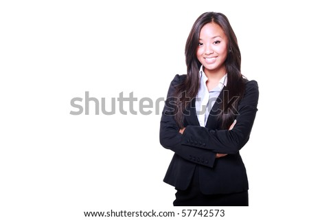 Asian Business woman with arms folded isolated on white background