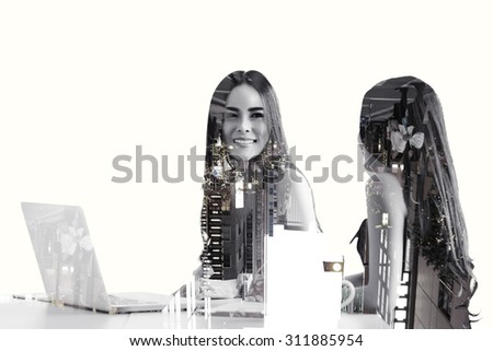 Asian business women talking to each other at business meeting room with laptop computer on office desk, Double exposure.