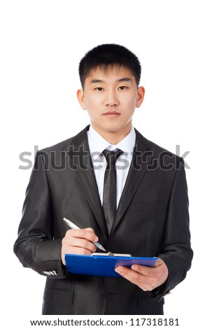 asian businessman confident serious writing on clipboard, handsome young business man sign contract, wear suit shirt and tie isolated over white background - stock photo