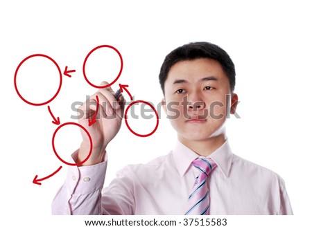 Asian businessman drawing an chart on transparent  board