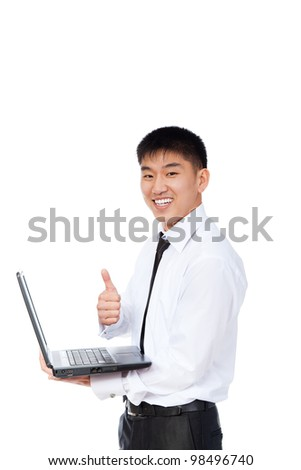 asian businessman hold laptop show thumb up finger hand gesture, young business man happy smile looking at camera, isolated over white background