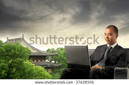 asian businessman on beautiful oriental landscape