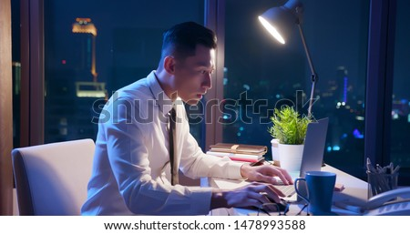 asian businessman overtime work alone in the office #1478993588