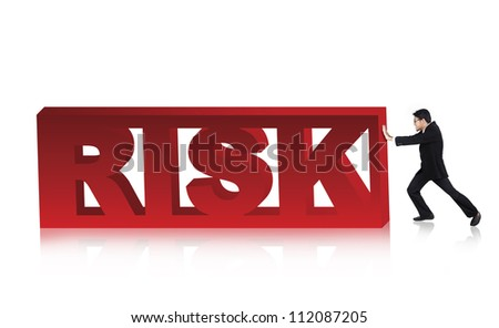 Asian businessman pushing a large version of the word. - stock photo