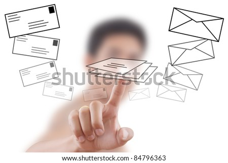 Asian businessman pushing mail for social network.
