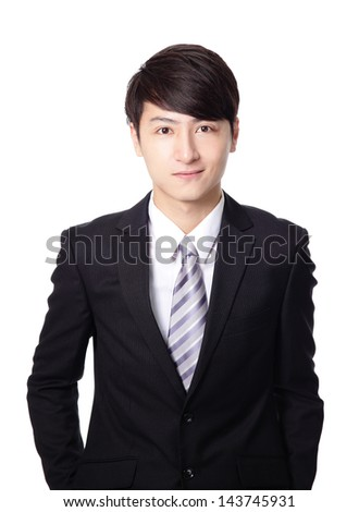 asian businessman smile face closeup isolated on white background