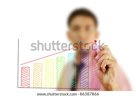 Asian businessman writing up graph on the whiteboard.
