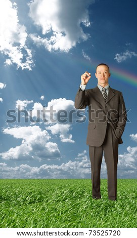 asian businessman writting something in air, outdoors