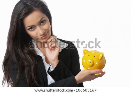 Asian Businesswoman presenting piggy bank isolated on white