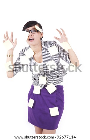 Asian businesswoman showing blank business card - stock photo