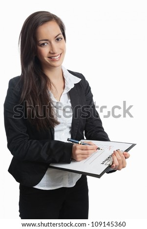 Asian Businesswoman with checklist on white background