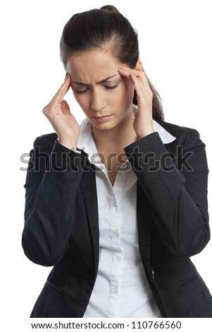 Asian Businesswoman with headache both hands on her head on white background