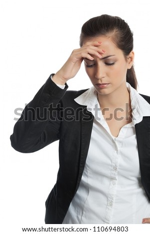 Asian Businesswoman with headache on white background
