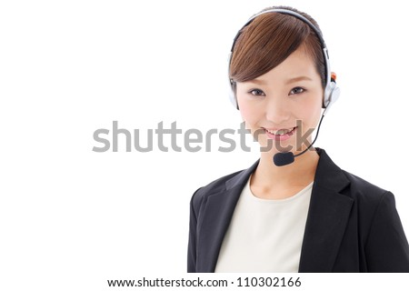 asian businesswoman with headset isolated on white background - stock photo