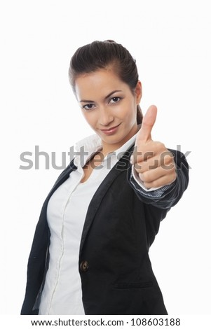 Asian Businesswoman with thumb up isolated on white