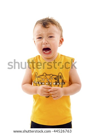 Asian / Caucasian mixed baby boy crying - isolated over a white background