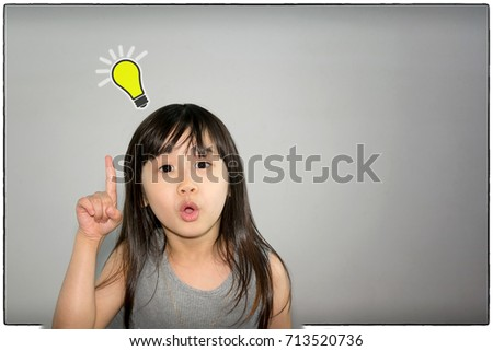 Asian Child with an Idea and Eureka Moment