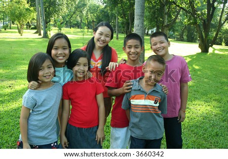 Asian children in the park.