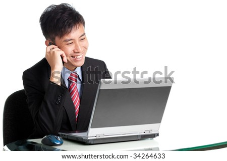 Asian Chinese/Japanese businessman shares a piece of good news with client over phone