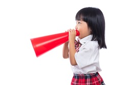 Asian Chinese little girl holding retro megaphone in isolated white background.