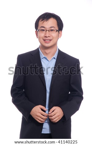 Asian Chinese young student in blue polo and black suite
