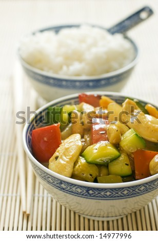 asian chop suey with chicken and rice close up