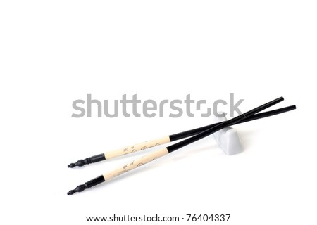 asian chopsticks isolated  on white close up