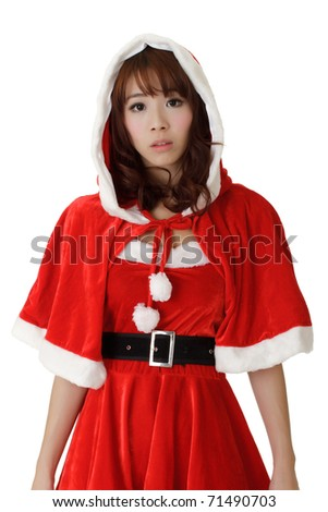 Asian Christmas girl with worried expression on face against white.