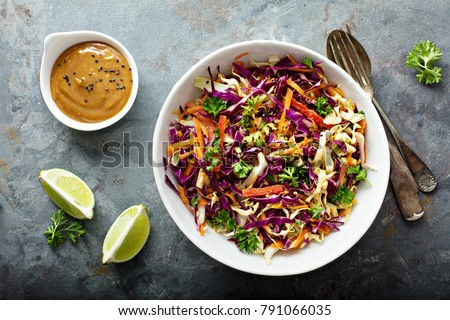 Asian cole slaw with sesame and peanut butter dressing Photo stock ©