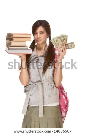 Asian college student with backpack balance pile of books and money in her hands with very concerned expression