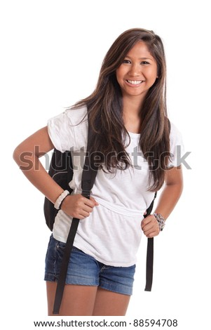 Asian college student with backpack isolated on a white background