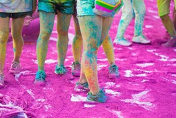 Asian colorful legs at run event