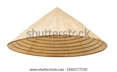 Asian cone hat isolated on white