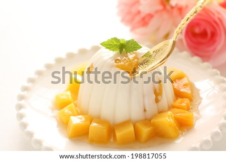 Asian confectionery, mango and almond tofu