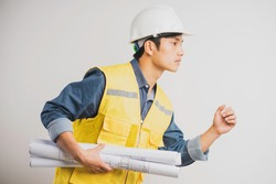 Asian construction engineer portrait holding the running drawing