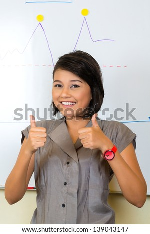 Asian Creative agency - businesswoman showing the development of sales with a diagram on a whiteboard, thumbs up