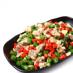 Asian cuisine bullfrog meat with chili