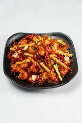 Asian cuisine fried crayfish with chili