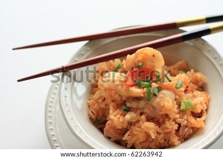 Asian cuisine, Kimchi and pork fried rice