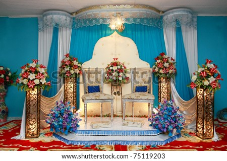 asian culture blue wedding stage - stock photo